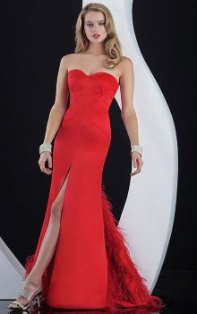 161f97da29ba Red Mermaid/Trumpet Strapless,Sweetheart Natural Long/Floor-length  Sleeveless Feathers/Fur,Split Front Elastic Woven Satin Sweep/Brush Train.