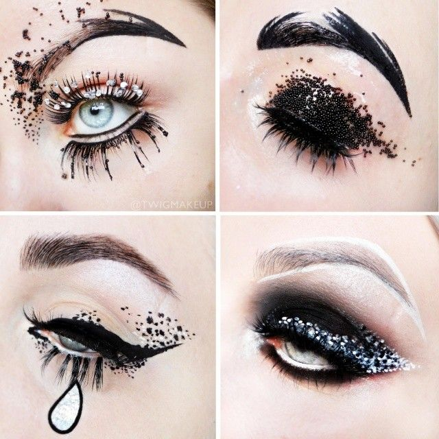 Black And White Make Up Smoky Eye Dotted Glitter Caviar