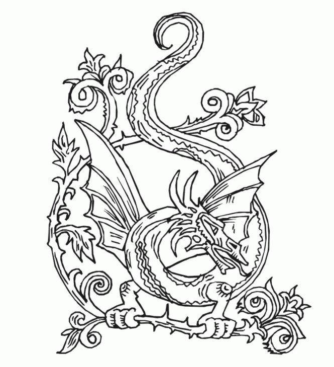 Beautiful Dragon Doodle Art Abstract Coloring Page For Adults