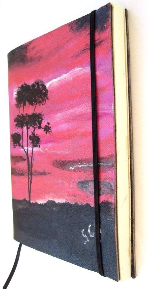Journal Hand painted in Leather Cover Handmade Pocket Art Break #ArtBreak