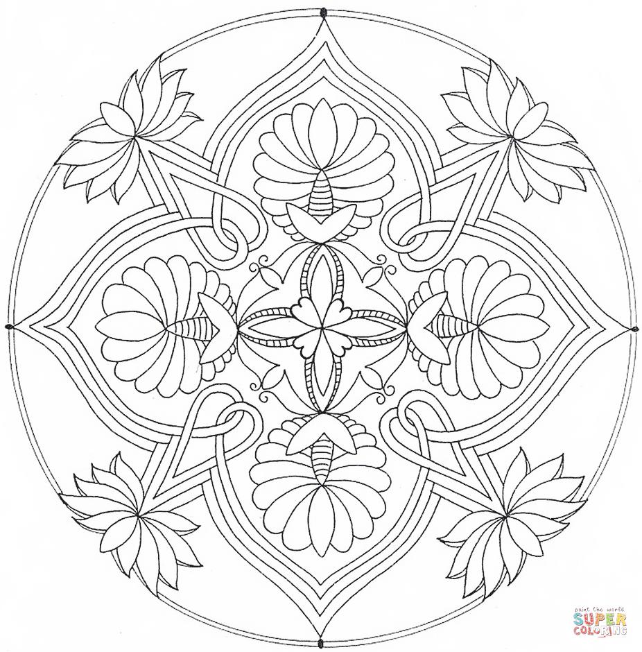 mandala with floral ornament | super coloring | mandala