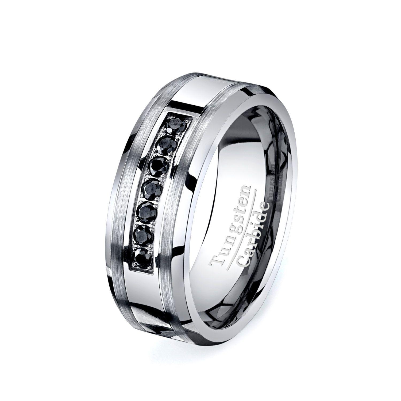 Rare Black Diamond Tungsten Ring HIGH END Mens by