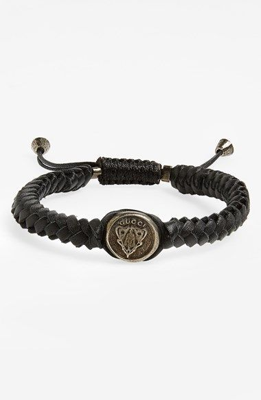 Free Shipping And Returns On Gucci Crest Woven Leather Bracelet At Nordstrom An Embossed Sterling Silver Centers A Handsome Made From