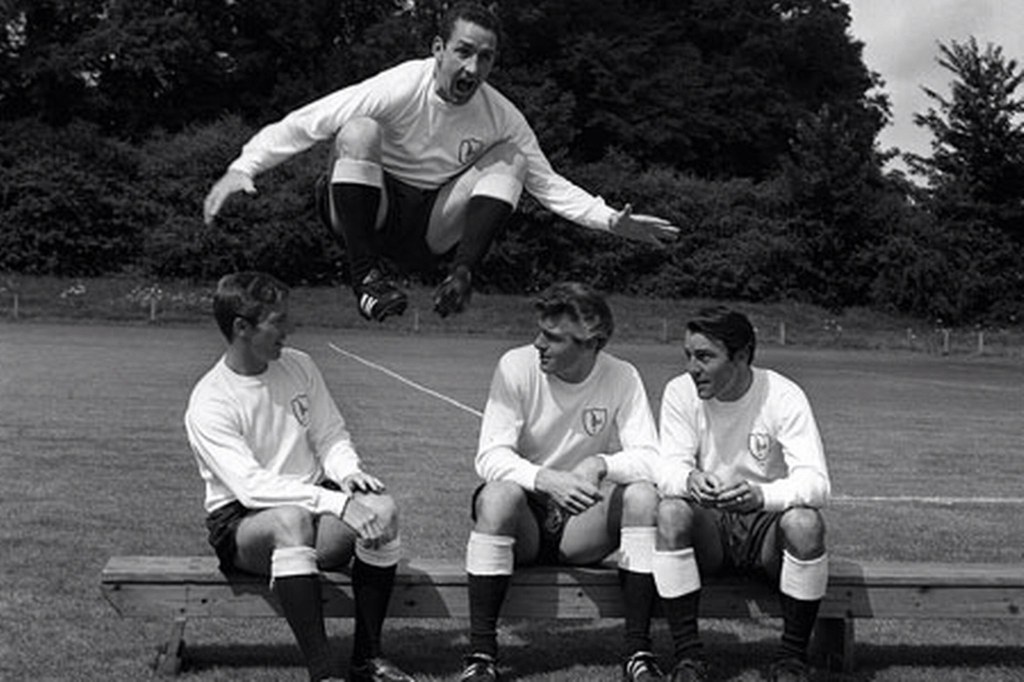 Dave Mackay clowning around, with Cliff Jones, Ron Henry and Jimmy Greaves