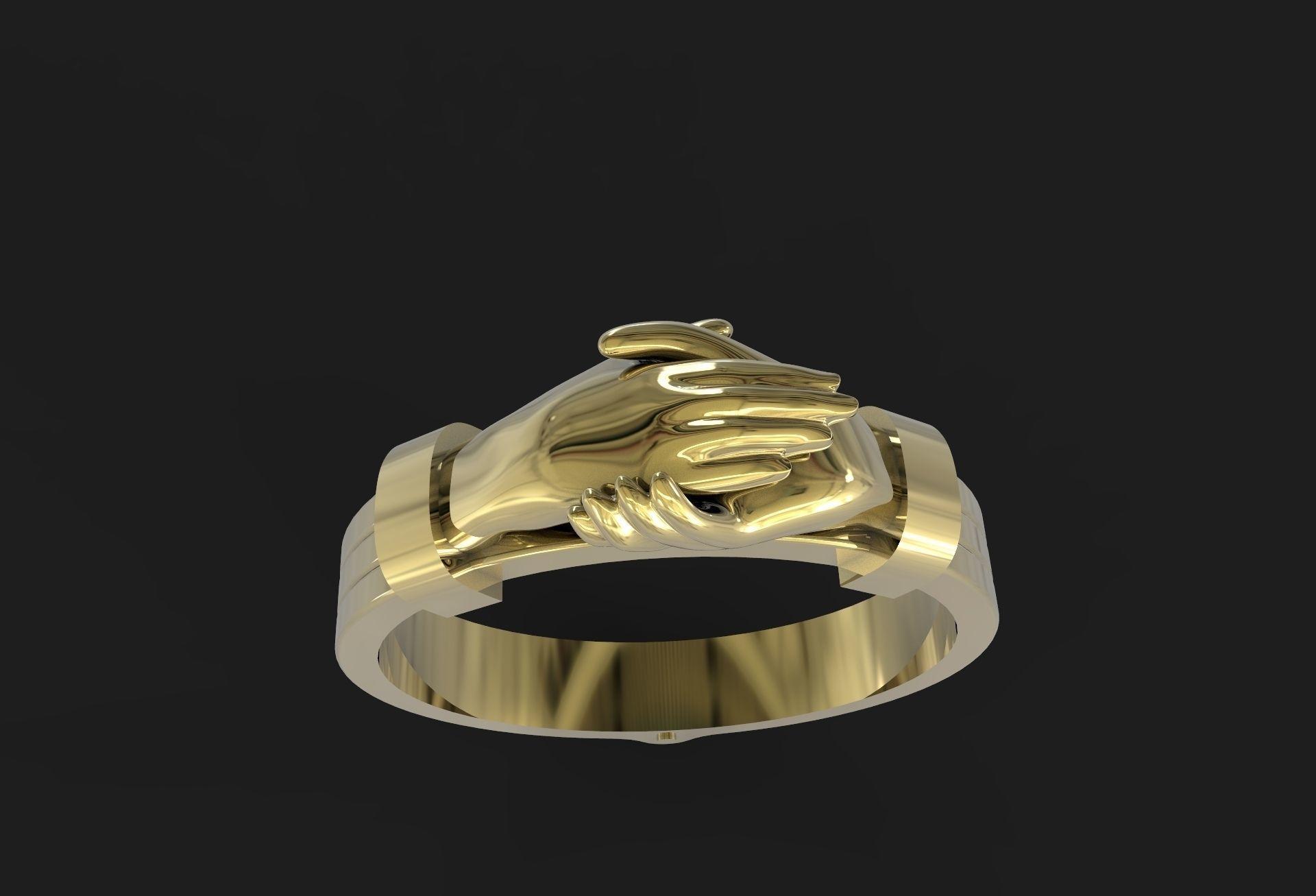 antique gimmel ring 3d model stl 2
