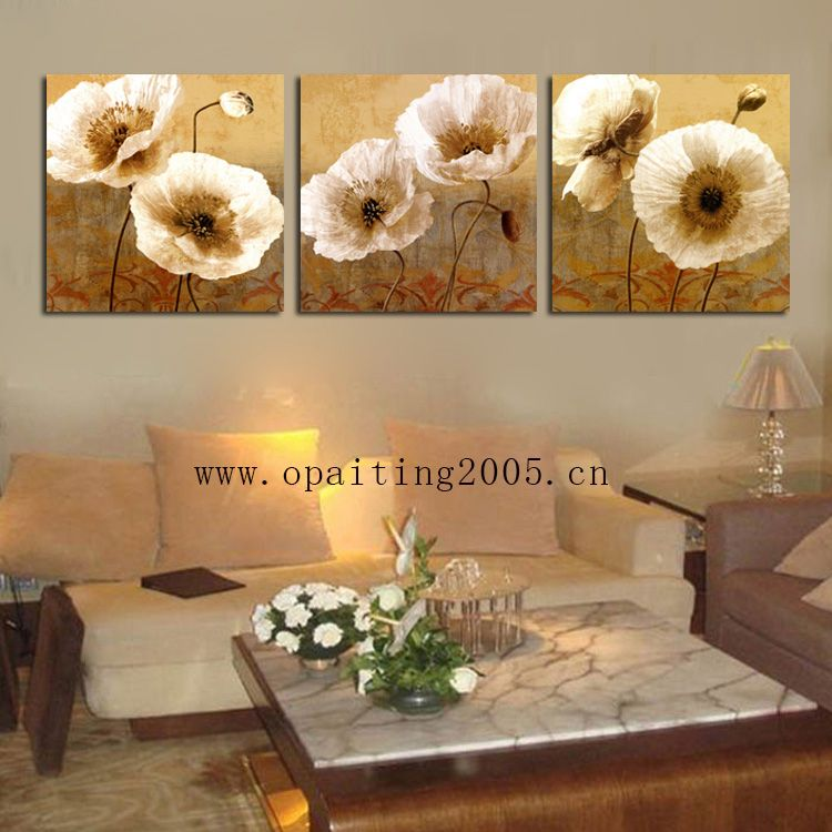 Free Shipment Hot Hand Painting Decorative Paintings 3 Piece Flowers Paintings Golden Lotus Wall Pictures Home