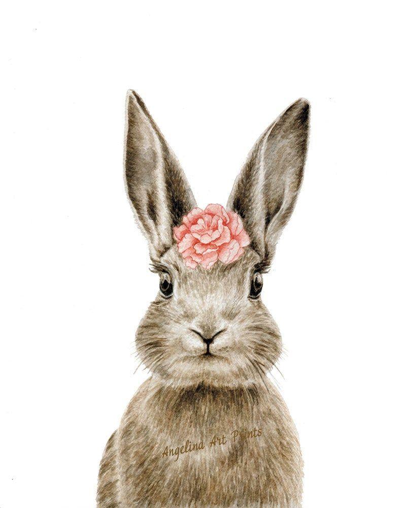 Nursery Rabbit print, animal prints for nursery .
