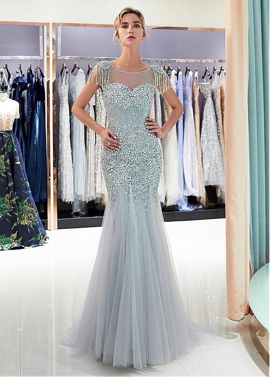 668f86deea76f Gorgeous Tulle Jewel Neckline Full-length Mermaid Formal Dress With  Beadings - Adasbridal.com