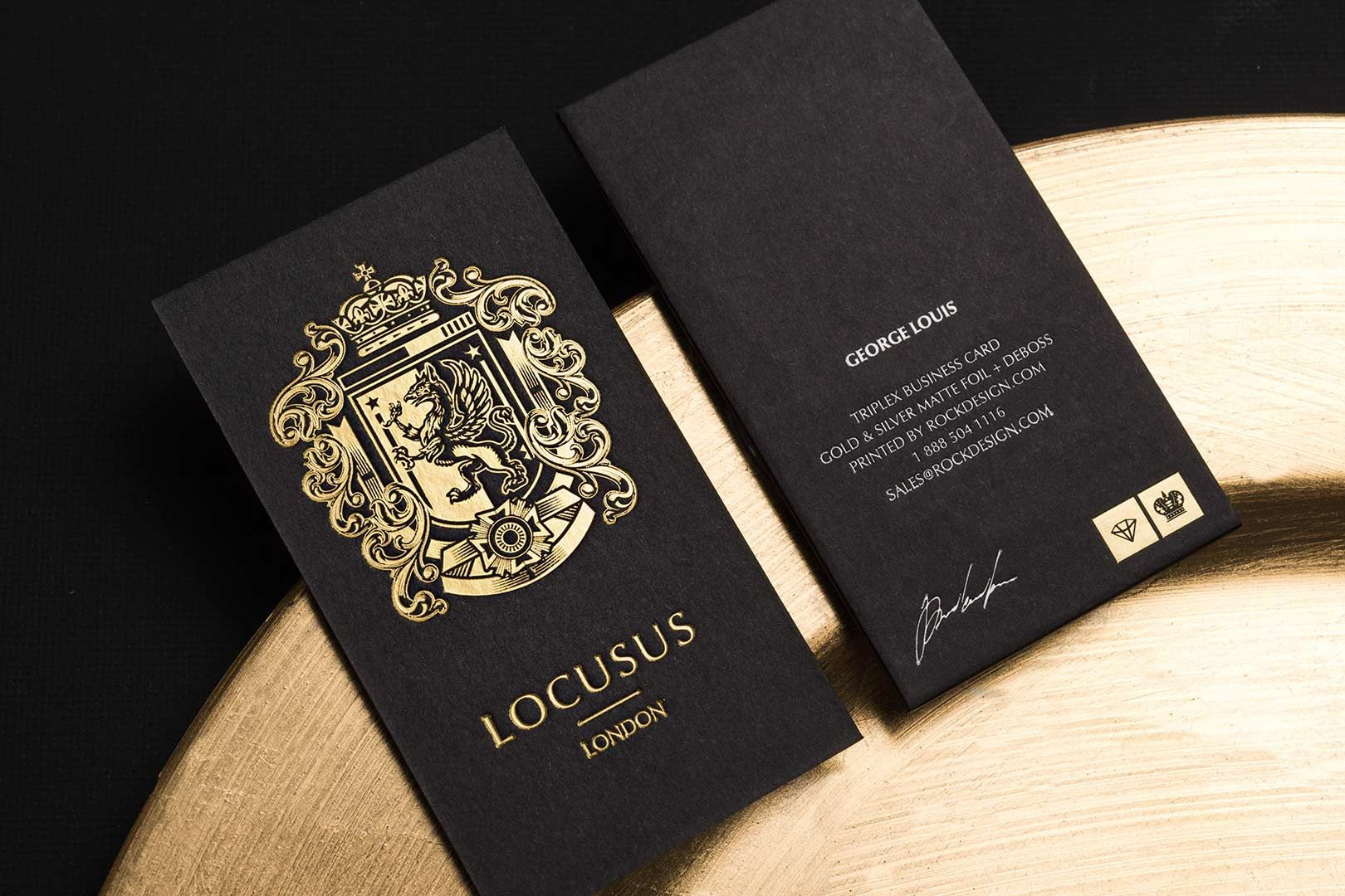 Triplex business cards with gold foil stamping photo 1 for Upscale business cards