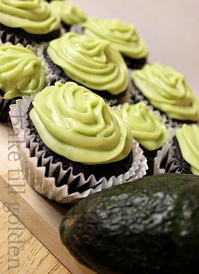 mexican choco-chili cupcakes w/ avocado frosting