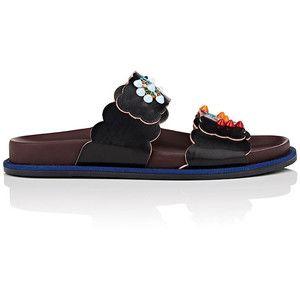 Fendi Women's Studded & Embroidered Leather Slide Sandals