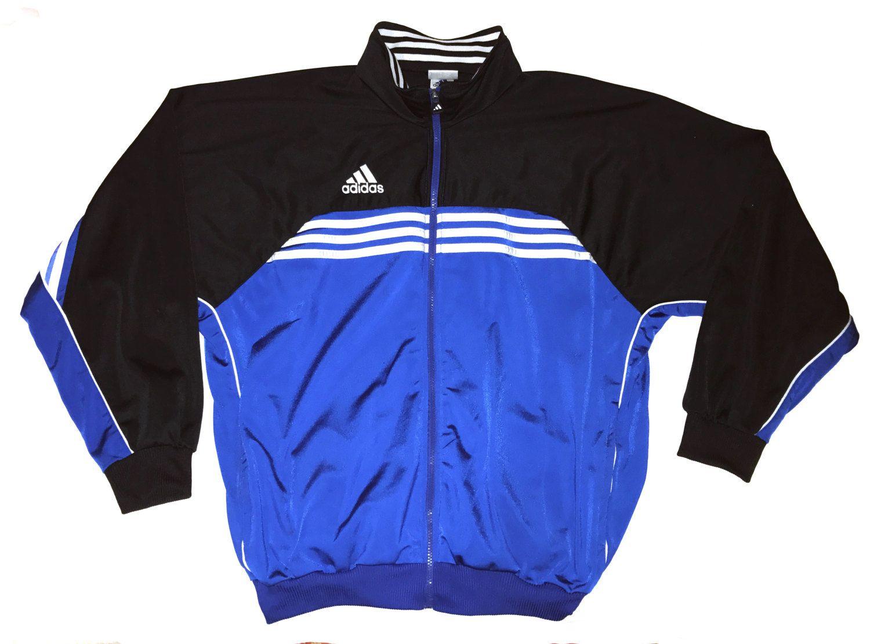 Vintage 90s Adidas Tracksuit Top jacket Hip Hop Style Blue