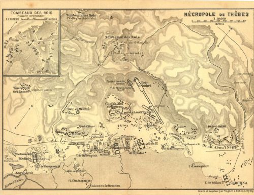 Necropolis Of Thebes Vintage Map Egypt Archeological Site - Vintage map of egypt