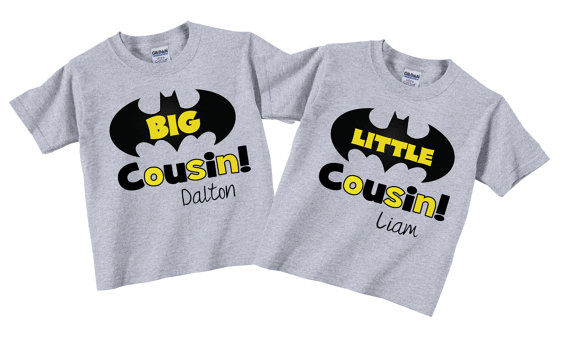 92b7acc0 Big Cousin Little Cousin Sibling Shirt Superhero Sets with Bat Tees on  Etsy, $27.95