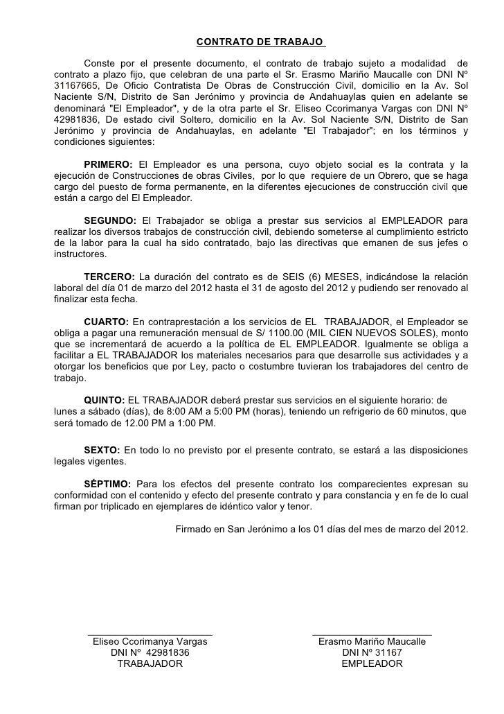 Contrato De Trabajo Conste Por El Presente Documento El