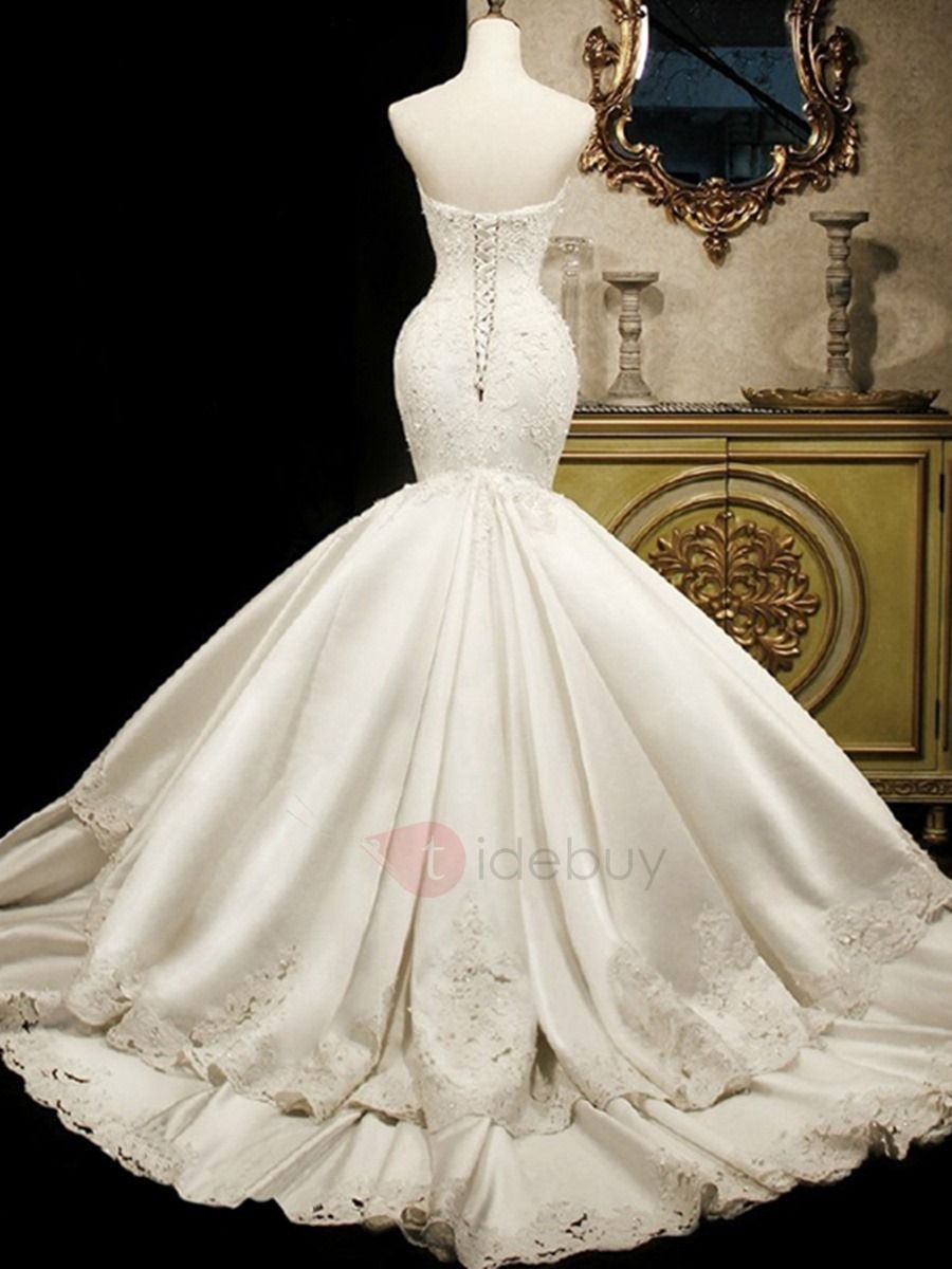 Sweetheart appliques tiered mermaid wedding dress back view love