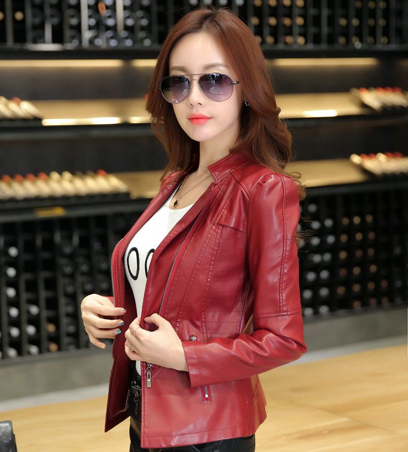 9920b169b154c leather jacket women spring and autumn slim short design motorcycle jacket  young girls red pink and
