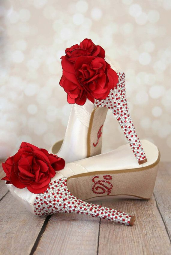 c84743073cc Ivory Wedding Shoes with a red and silver crystal covered heel and a red  flower on the ankle. Custom wedding shoes by Ellie Wren.