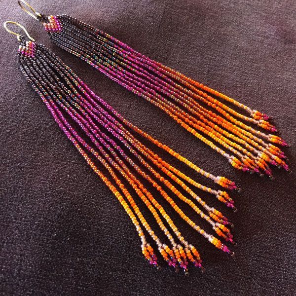 Summer Heat Short Length Delicate Seed Bead Handmade Earrings