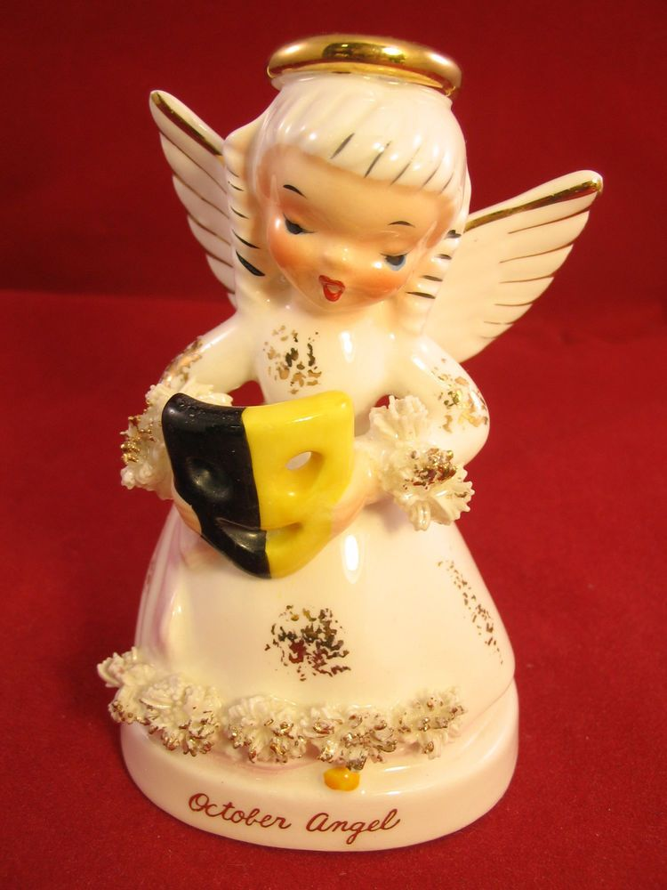 $9.99 Vintage NAPCO October Birthday Angel Spaghetti Flowers w/ Mask A1370 Made Japan