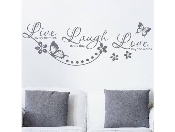 Bilderwelten Wandtattoo »Live Laugh Love«, bunt, flieder