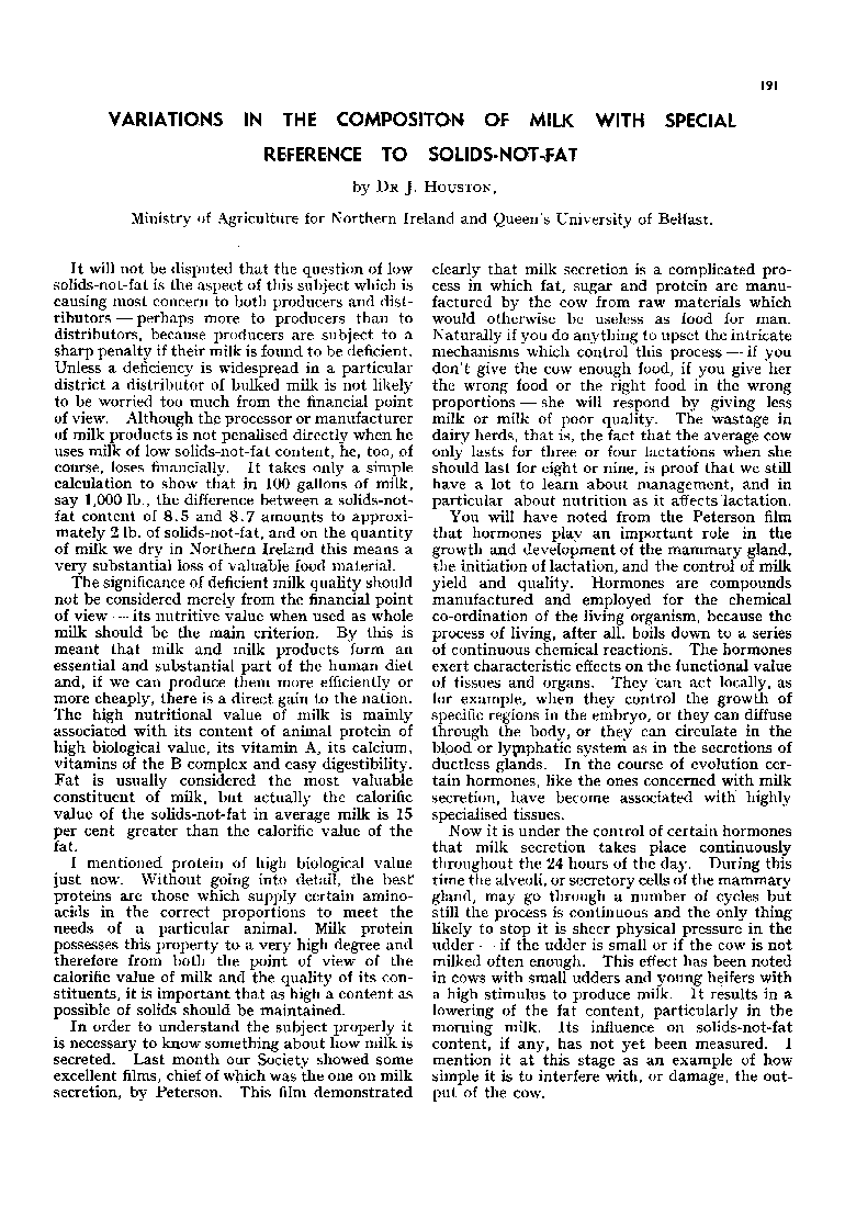 VARIATIONS IN THE COMPOSITON OF MILK WITH SPECIAL REFERENCE TO SOLIDS-NOT-FAT - Houston - 1951 - International Journal of Dairy Technology - Wiley Online Library