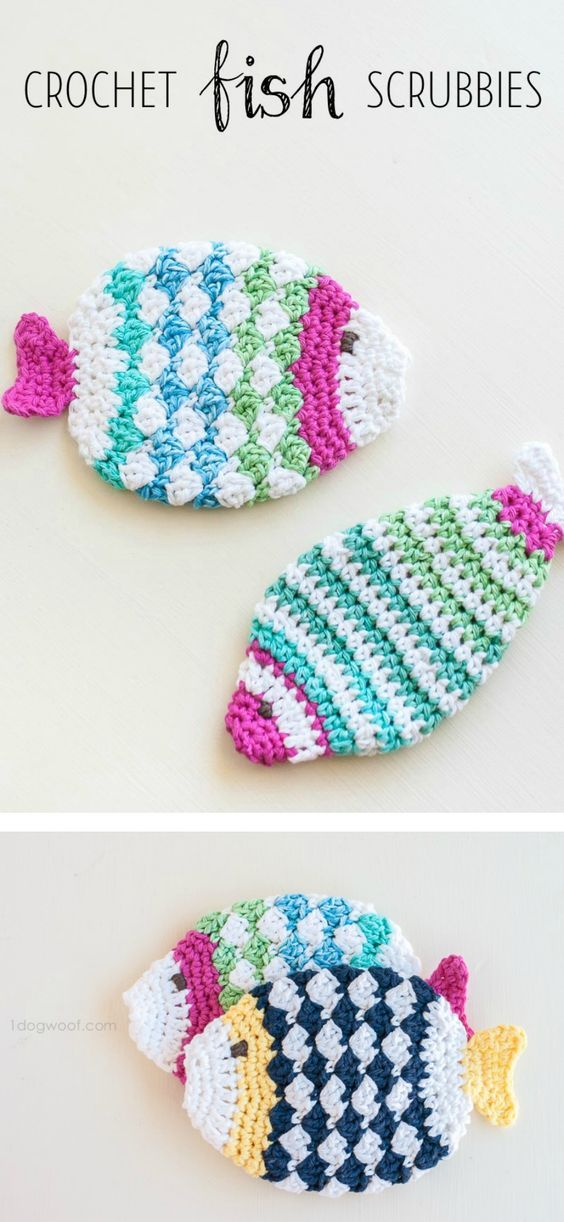 Free pattern for crochet fish scrubbie washcloths. Wouldn\'t this ...
