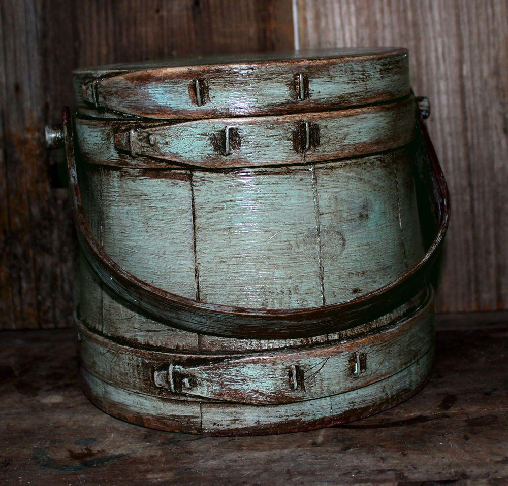 Primitive Grungy Robins Egg Blue Wooden Firkin Milk Paint