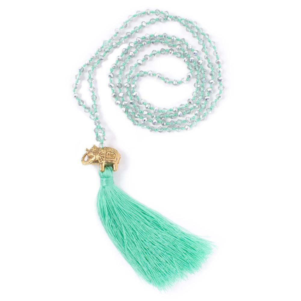 Elephant Crystal Tassel Necklace (Eight Colors Available)