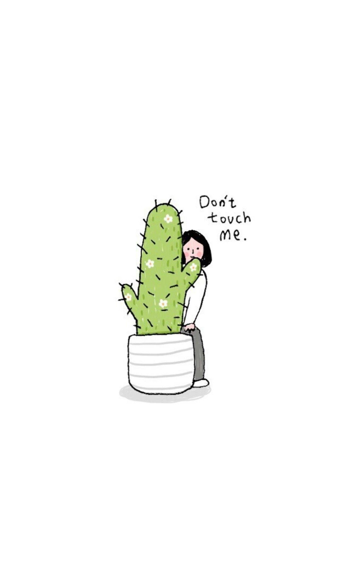 Linaphat Cactus Wallpaper Don T Touch Me Ilustrasi Ilustrasi Lucu Ilustrasi Karakter Aesthetic cute cartoon cactus wallpaper