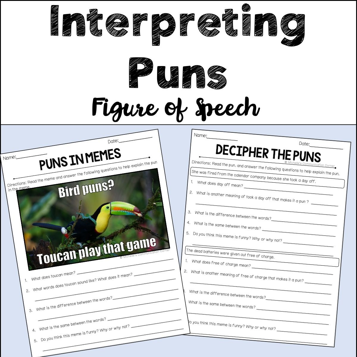 Interpreting Puns Worksheets