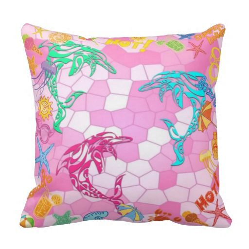 Fun Cushion for the Kids - Beach, Dolphins, Summer Throw Pillows