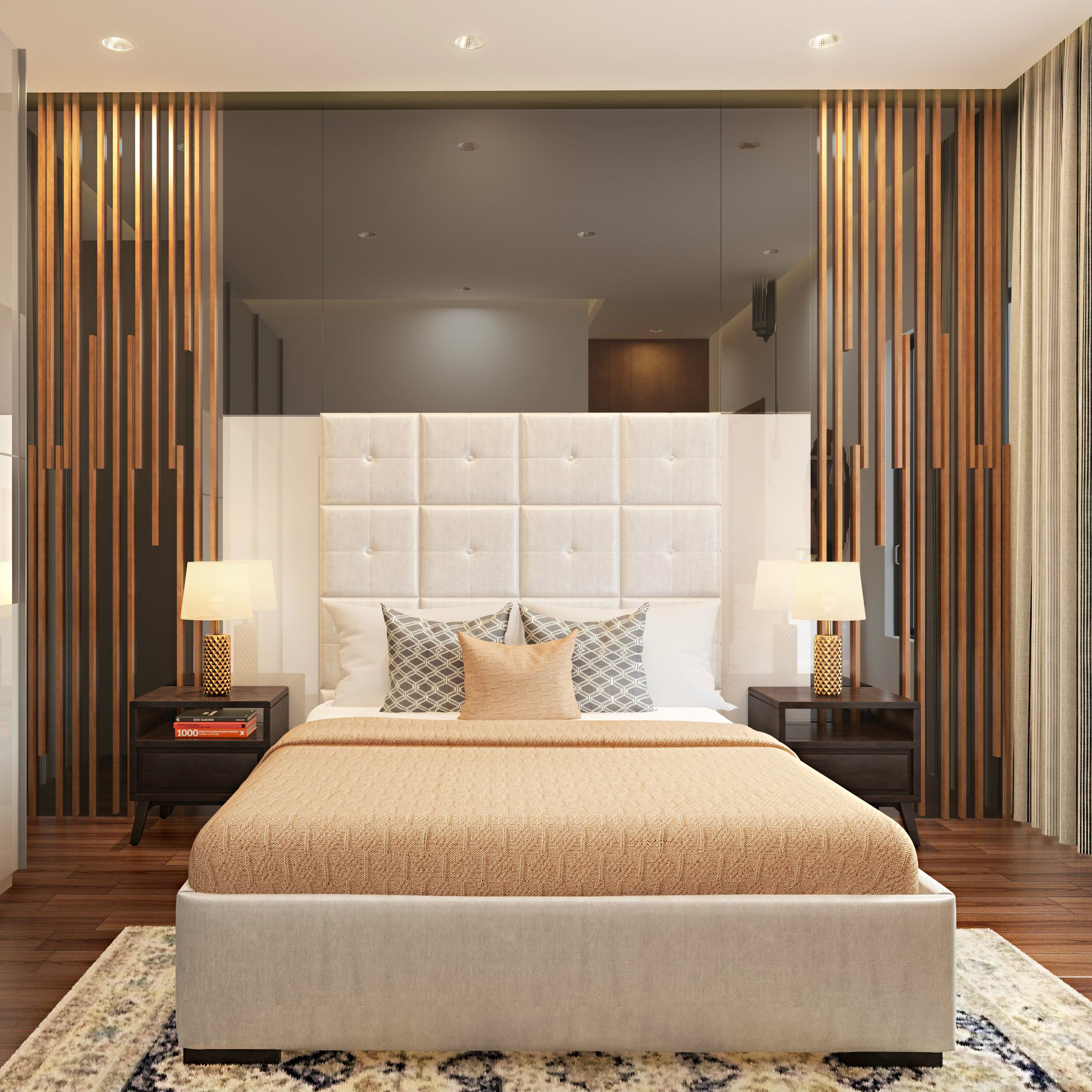 A Luxurious Bedroom Design Mirrored Accent Wall Plush Headboard