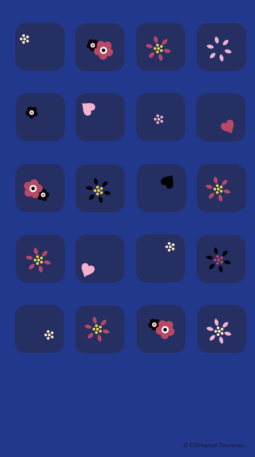 Blue Flower Pattern Iphone Home Screen Wallpaper Panpins Iphone