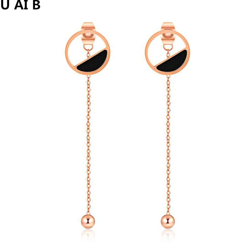 Korean fashion personality earrings simple atmosphere long earrings