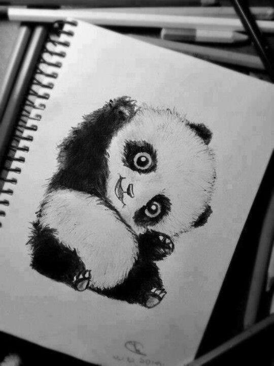 Cute fluffy playing panda tattoo design