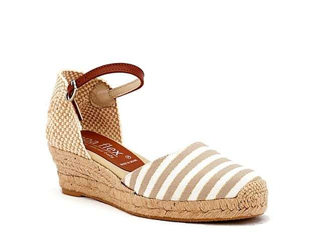 aa21677148d Women Malaya Espadrille Wedge Sandal -Beige White Taupe Stripes ...