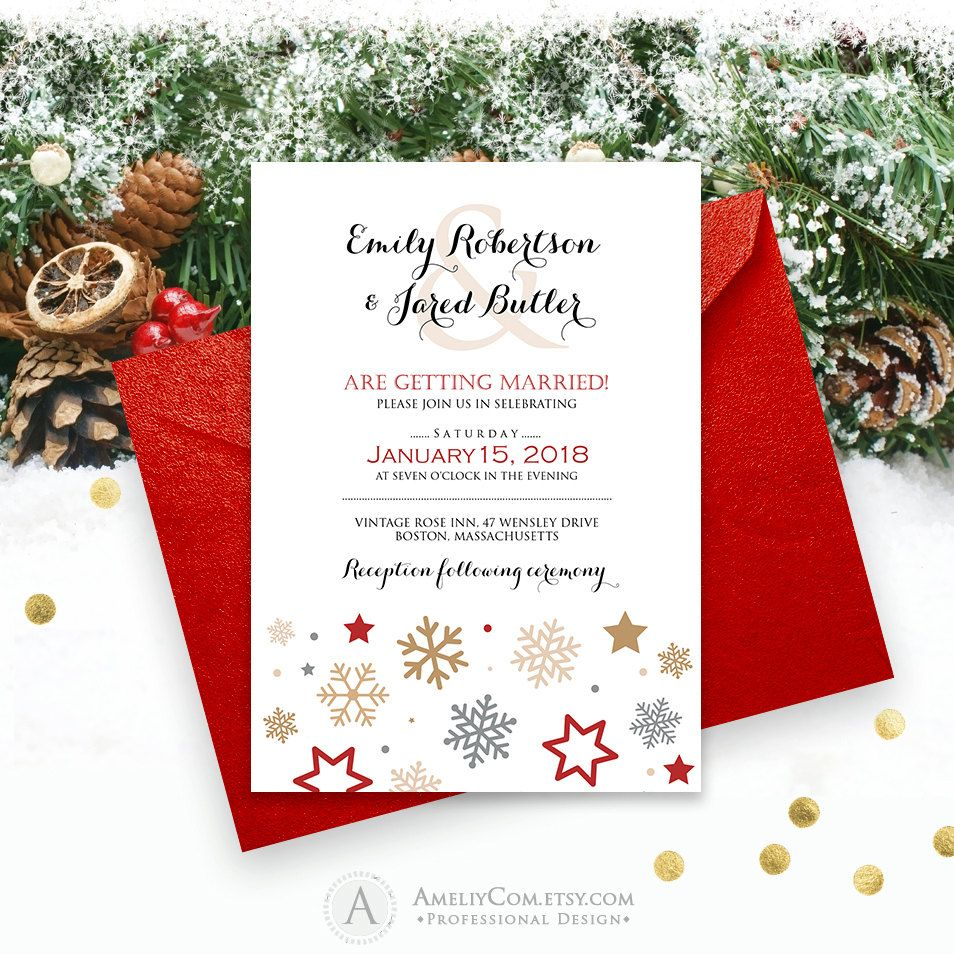 Winter Snowflakes Wedding Invite - Printable - Red - Gold - Silver ...