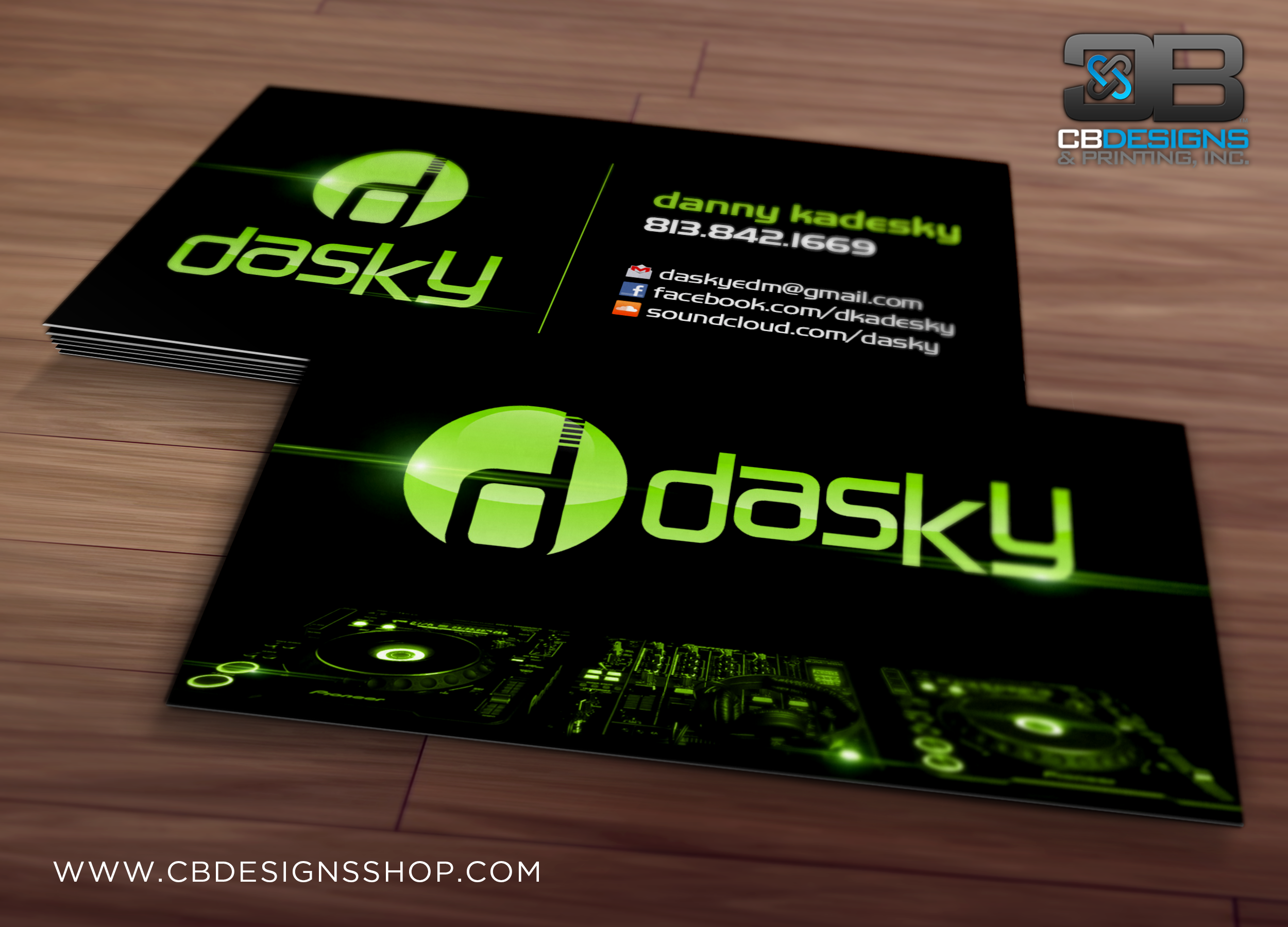 DJ Dasky - Business Card Design | www.cbdesignsshop.com | CB Designs ...