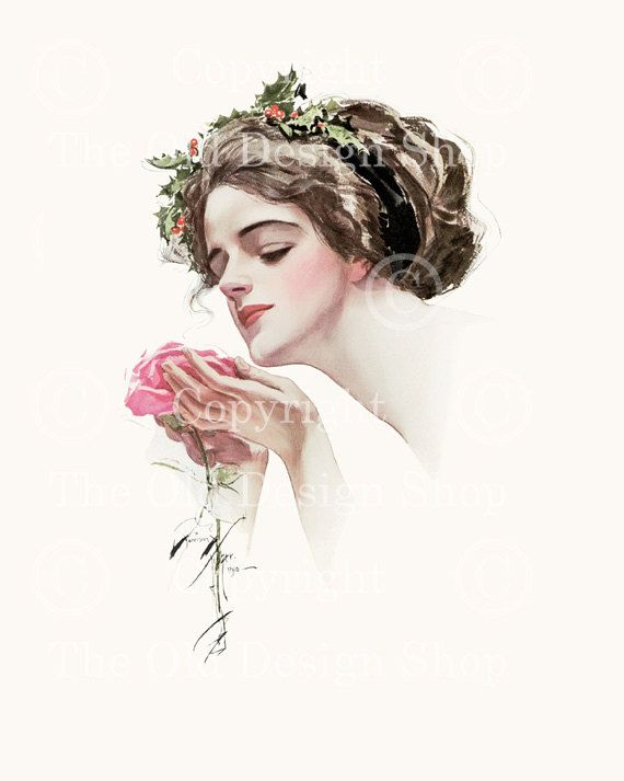 Harrison Fisher Girl The Christmas Rose by TheOldDesignShop, $4.00