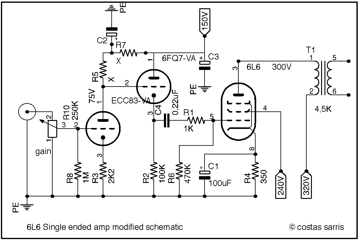 guitar preamp circuit over drive using 12au7