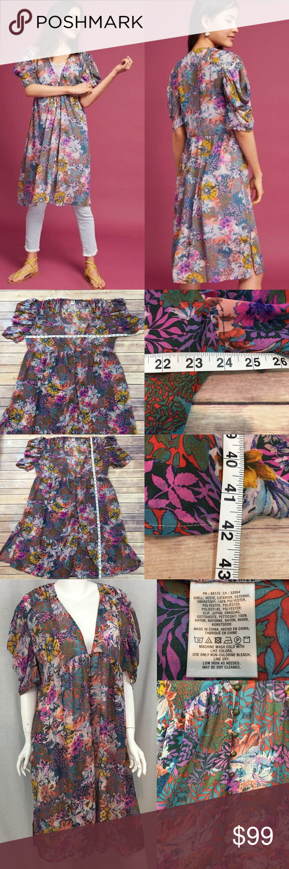 7dceb24a9408 Size XL Anthro Akemi Kin Valencia Boho Sheer Dress • Measurements are in  photos • Material