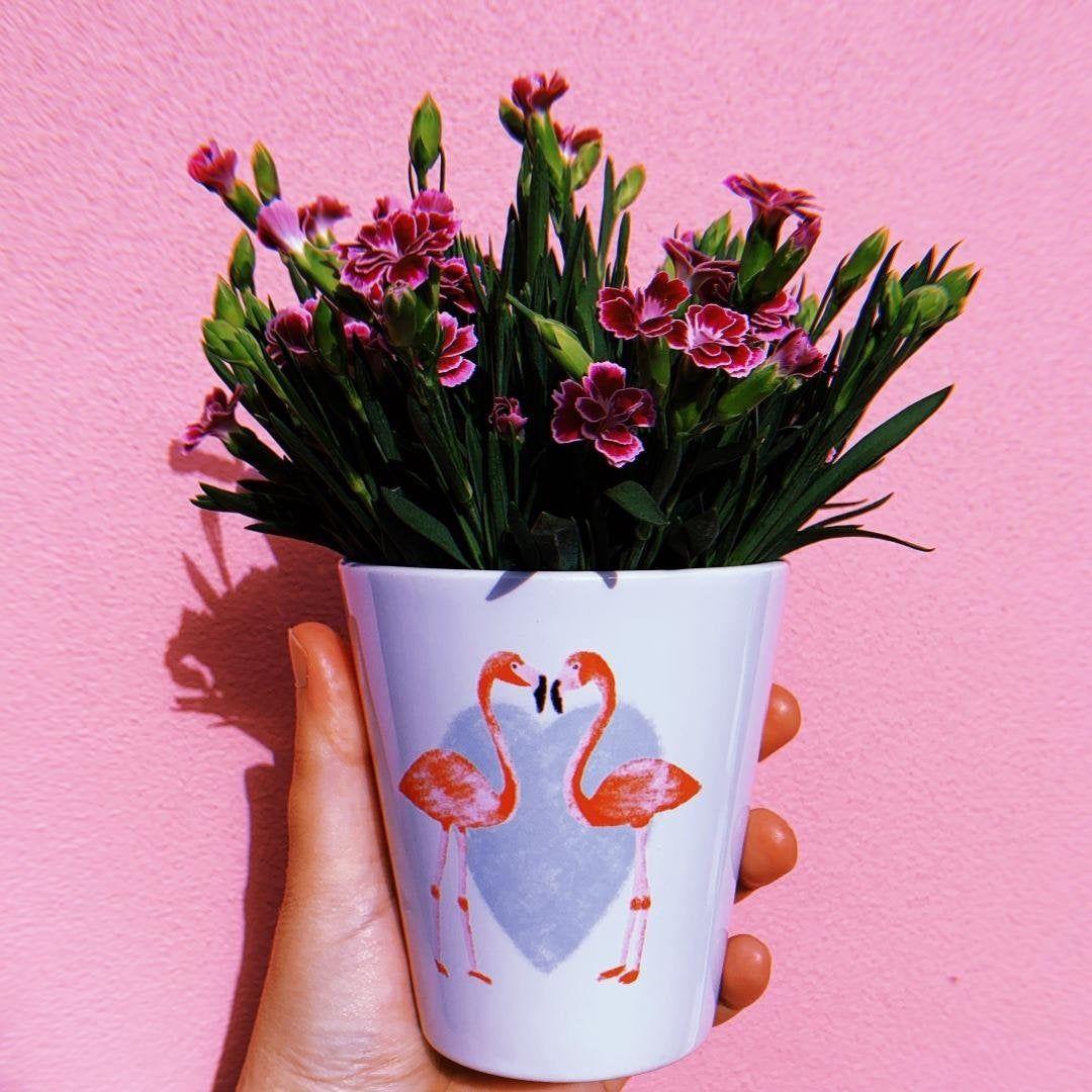 SAMPLE SALE Flamingos Plant Pot Summer garden decor
