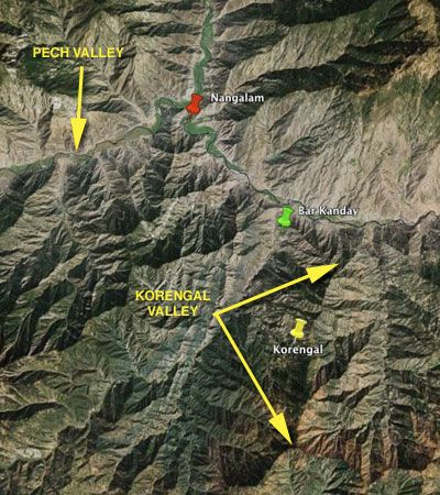 Korengal Valley Map The Korengal valley has served the as a strategic passage route