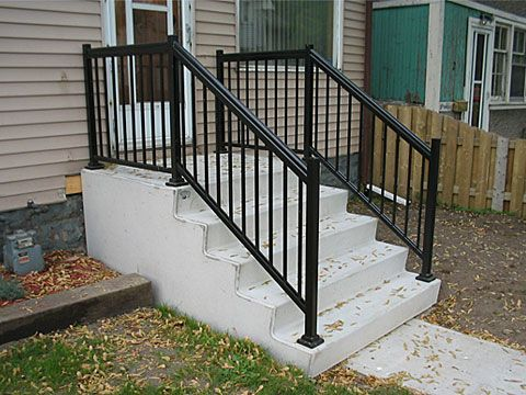 Best Home Depot Wrought Iron Step Railing Steps Parsons Precast Outdoor Stair Railing 640 x 480