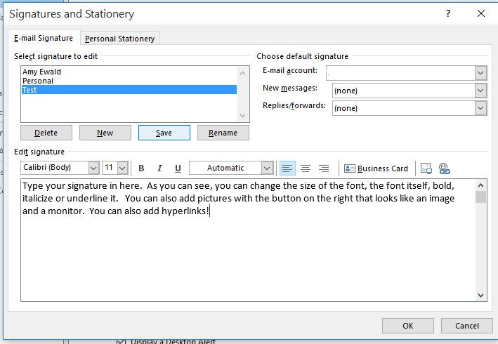 Set Up Signatures In Office 365 Business Card Type Office 365 Mail Signature