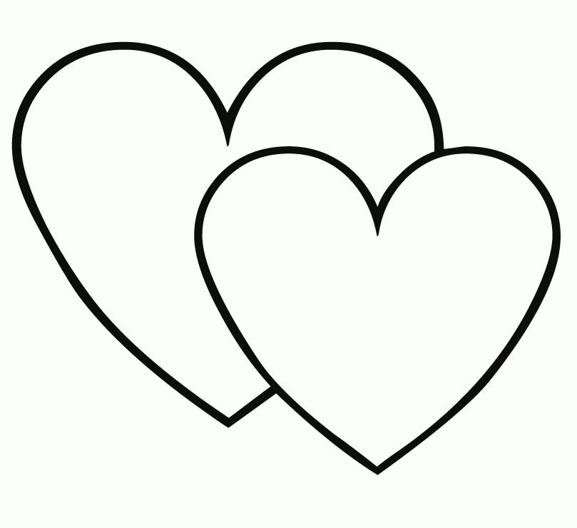Double heart coloring page | Valentines | Heart coloring ...