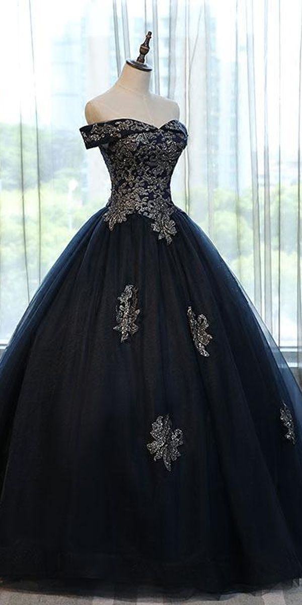 Navy Blue Off the Shoulder Lace Appliques Ball Gow
