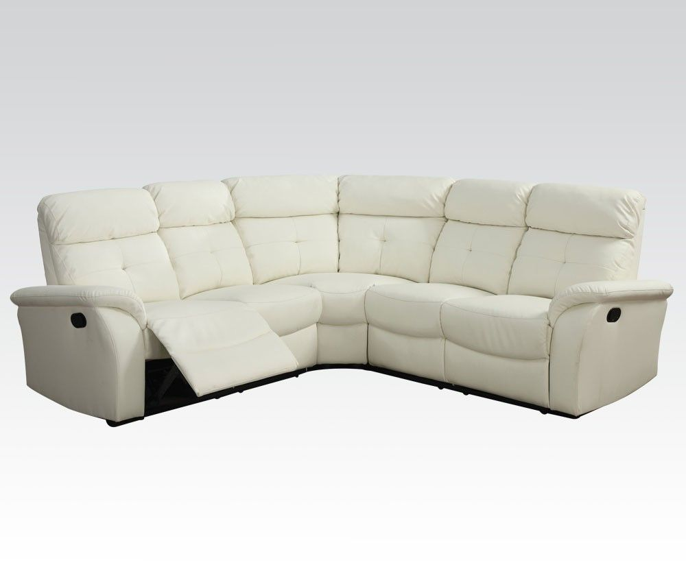 Lawrence Contemporary Sectional Reclining Beige Bonded Leather Match ...