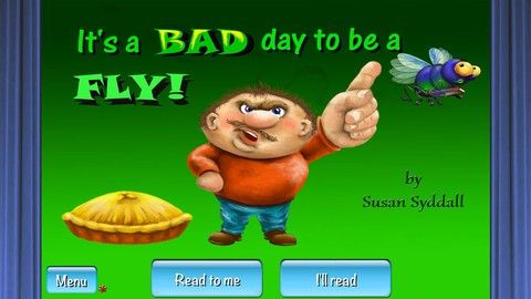 FREE app March 22nd (reg 2.99)- It's a BAD day to be a FLY! is an interactive illustrated children's audio book by Susan Syddall.